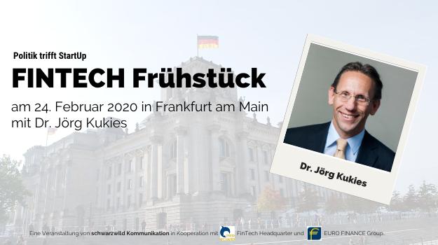 Staatssekretär Dr. Jörg Kukies kommt zum FinTech Frühstück