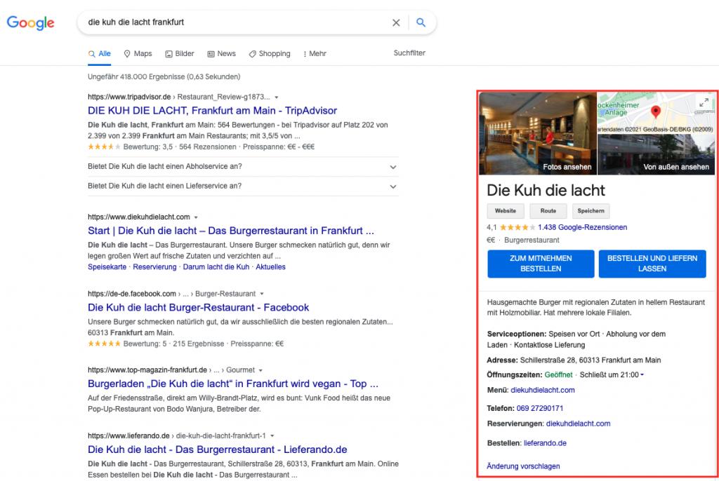 Zero-Click-Search: Das Ergebnis ist sofort sichtbar und weitere Klicks werden überflüssig.